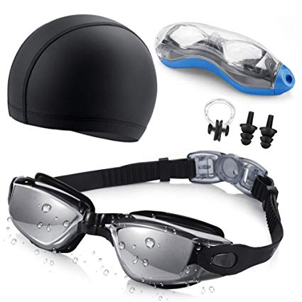 Swim Goggles and Cap Set SKL Swimming Goggles No Leaking Anti Fog UV Protection Triathlon Swim Goggles with Nose Clip and Ear Plugs and Protection Case for Adult Men Women Youth Kids