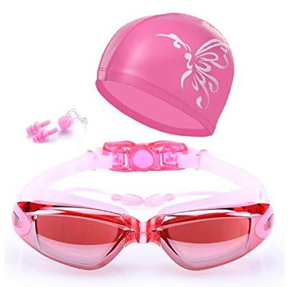 QainYiDa Swimming Goggles Set Swimming cap, Watertight Comfortable Anti-UV Shatter-proof Adjustable Complete Accessory swim hat+Earplug+ Nose Clip+Protective Box