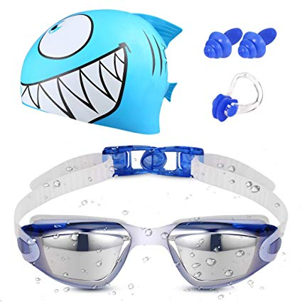 Kids Swim Goggles Set With Swim Cap - Swim Goggles For Kids(Age 4-12) With Crystal Clear Vision Anti-Fog 400 UV Protection Soft Health Silicone Frame Cool Shark Swim Cap