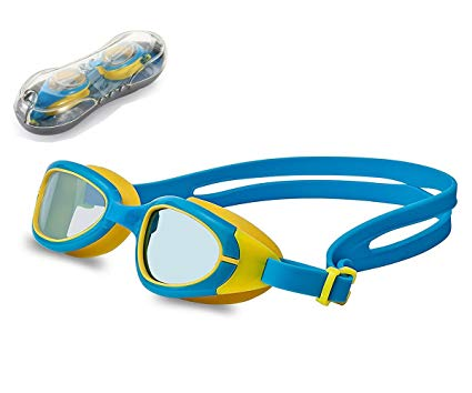 Swimming Goggles for Kids, EJIA TECH Swim Goggles with Anti Fog UV Protection No Leak Shatterproof for Silicone Frame and Strap for Kid Boys Girls and Early Teens