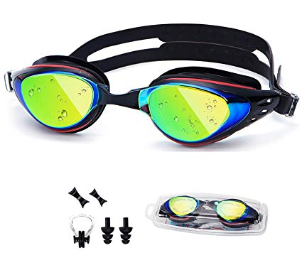 UTOBEST Swimming Goggles With Degree Optical Swim Goggles Myopic UV Protection Anti-Fog No Leaking With Ear Plugs Nose Clip for Women Men Adult Kids