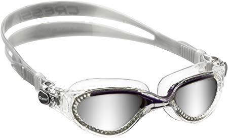 Cressi Flash Swim Goggles Adult - Swimming Goggles (Clear/Green Mirrored Lenses)