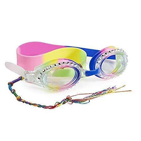 Rainbow Swimming Goggles For Kids by Bling2O - Anti Fog, No Leak, Non Slip and UV Protection - Ya Man Pink Colored Fun Water Accessory Includes Hard Case