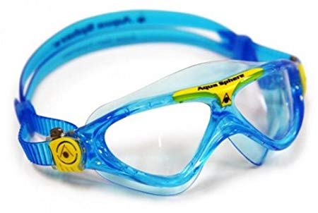 Aqua Sphere Vista Junior Swim Mask, Bluewater & Yellow, Clear Great for Swimming