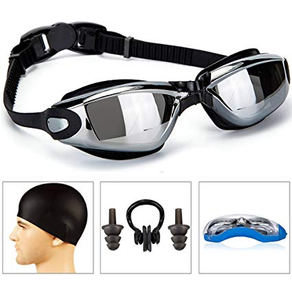 GAOYI Swimming Goggles + Swim Cap + Case + Nose Clip + Ear Plugs,Swim Goggles Anti Fog UV Protection for Adult Men Women Youth Kids Child by