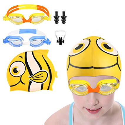 VBIGER Kids Swim Goggles, Pack of 2, Anti-Fog UV Protection Leakproof Swimming Glasses for Children Teens 5 to 12 Years Old, Free Nose Clip and Ear Plugs + Swim Caps
