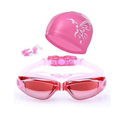 qiteng Swimming Goggles + Swim Cap + Case + Nose Clip + Ear Plugs Swim Goggles Anti Fog UV Protection for Adult Men Women Youth Kids