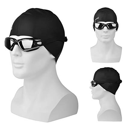 Swim Goggles + Swim Cap, CANI Swimming Goggles No Leaking Anti Fog UV Protection, Elastomeric Solid Silicone Swim Cap, Professional Swim Glasses and Swimming Cap set for Adult Men Women Girls Kids