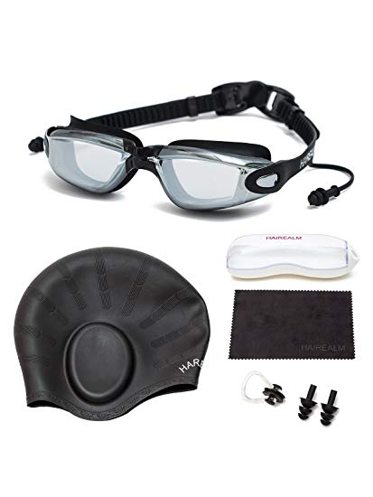 HAIREALM Prescription Swimming Goggles(Myopia 0-8.0 Diopters),Corrective Nearsighted swim goggles+Swimming cap+Nose Clip+Ear Plugs, No Leaking Anti-Fog UV Protection for Adult Men Women Youth Kids