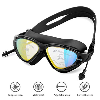 Swimming Goggles,Waterproof Goggles,Waterproof Anti-fog Swimming Goggles,Hypoallergenic Silicone Pad Goggles Swimming Goggles for Adult Women Men Youth Fantasy Starry Sky Series