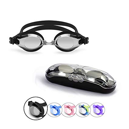 Sprive Adult Swim Goggles, Classic Anti-Glare Mirror Coat Lens (Age 15+) with Protective Case, Nose Clip, Ear Plugs. UV Protection, 100% Silicone, Hypoallergenic, Waterproof, Soft, Comfortable.