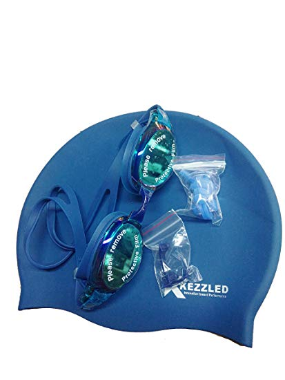 Swimming Cap, Goggles, Ear Plug & Nose Clip-Blue (Exclusive Swimming Set) By Kezzled