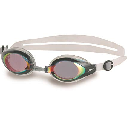Speedo Mariner Mirror Adult Swimming Goggles - Red/Clear